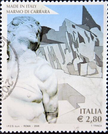 carrara: ITALY - CIRCA 2006  A stamp printed in Italy dedicated to the marble of Carrara, circa 2006  Editorial