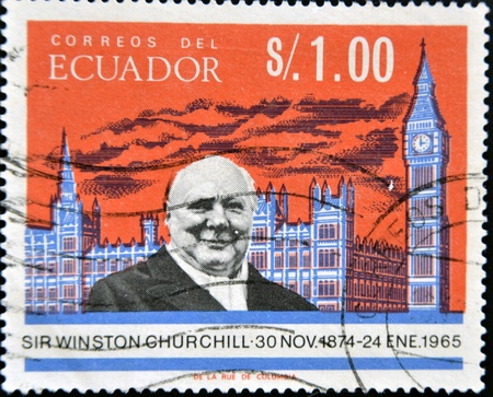 ECUADOR - CIRCA 1966  A stamp printed in Ecuador shows Winston Churchill, circa 1966