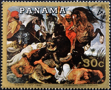 PANAMA - CIRCA 1980  A stamp printed in Panama shows   The hippo hunt  by Sir Peter Paul Rubens, circa 1980