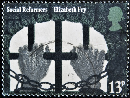 UNITED KINGDOM - CIRCA 1976  A stamp printed in Great Britain shows social reformers Elizabeth Fry, circa 1976