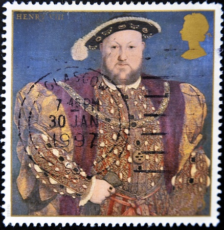 viii: UNITED KINGDOM - CIRCA 1997  A stamp printed in Great Britain shows king Henry VIII, circa 1997