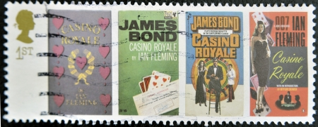 royale: UK - CIRCA 1995 : stamp printed in UK with James Bond Agent 007 of Ian Fleming, Casino royale, circa 1995