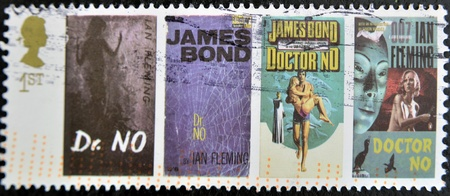 sean: UK - CIRCA 1995 : stamp printed in UK with James Bond Agent 007 of Ian Fleming, Doctor No, circa 1995