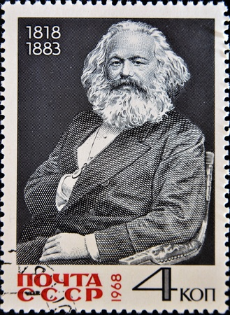 marx: USSR - CIRCA 1968 A stamp printed in Russia shows Karl Marx portrait, circa 1968