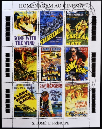 tarzan: SAO TOME AND PRINCIPE - CIRCA 1995: A stamp printed in Sao Tome in homage to the movies, shows movie posters, circa 1995
