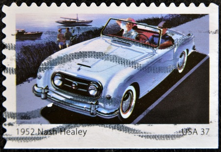 UNITED STATES OF AMERICA - CIRCA 2005: A stamp printed in USA shows 1952 nash healey, circa 2005  Stock Photo - 12207177