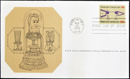 UNITED STATES OF AMERICA - CIRCA 1976: A stamp printed in USA dedicated to the centenary of the invention of telephone by Alexander Graham Bell, circa 1976  Stock Photo - 12039669