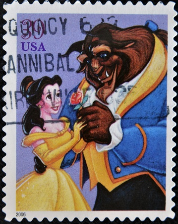 UNITED STATES - CIRCA 2006: stamp printed by United states, shows cartoon, Disney Characters, Beauty and the Beast, circa 2006