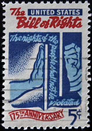 bill of rights: UNITED STATES OF AMERICA - CIRCA 1966: a stamp printed in the United States of America shows 175th anniversary of the Bill of Rights, Freedom Checking Tyranny, circa 1966