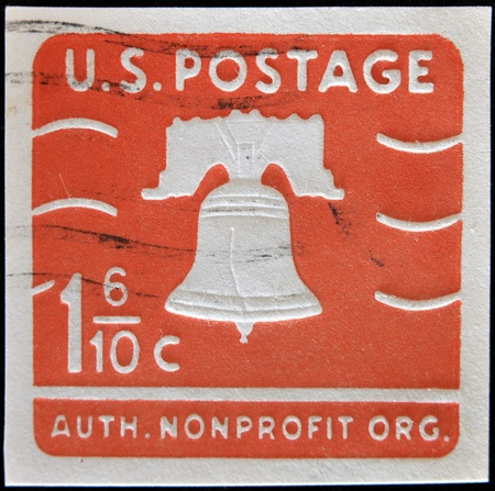 postage: UNITED STATES OF AMERICA - CIRCA 1975: A stamp printed in USA image of the Liberty Bell in Philadelphia, circa 1975  Stock Photo
