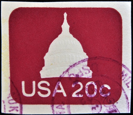 UNITED STATES OF AMERICA - CIRCA 1975: A stamp printed in USA shows capitol, circa 1975  Stock Photo