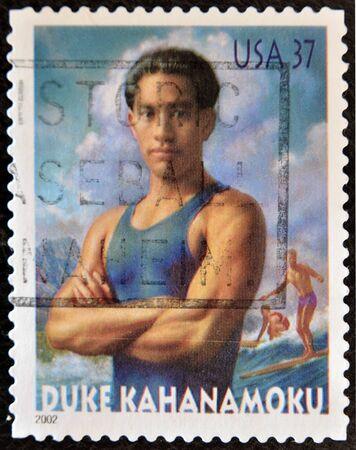 UNITED STATES OF AMERICA - CIRCA 2002: A stamps printed in the USA shows image of Duke Kahanamoku, circa 2002  Stock Photo - 11805173