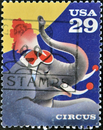 UNITED STATES OF AMERICA - CIRCA 1993: A stamp printed in USA shows a circus elephant, circus 1993  Stock Photo - 11813661