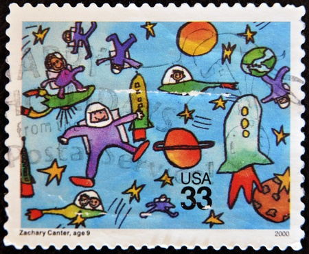 UNITED STATES OF AMERICA - CIRCA 2000 : A stamp printed in USA shows a child's drawing reference to the conquest of space, , circa 2000 Stock Photo - 11813659