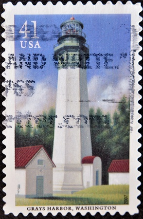 grays: UNITED STATES OF AMERICA - CIRCA 2007: A stamp printed in USA shows Grays Harbor lighthouse, circa 2007