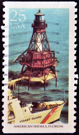 UNITED STATES OF AMERICA - CIRCA 2007: A stamp printed in USA shows american shoals lighthouse, circa 2007 Stock Photo - 11813662
