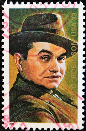 UNITED STATES OF AMERICA - CIRCA 2000 : A stamp printed in USA shows Edward G. Robinson actor Legends of Hollywood, circa 2000