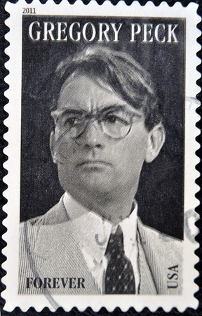 UNITED STATES OF AMERICA - CIRCA 2011: A stamp printed in USA shows Gregory Peck, circa 2011  Stock Photo - 11438921