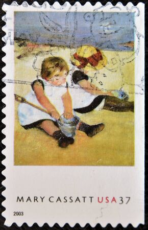 UNITED STATES OF AMERICA - CIRCA 2003: A stamp printed in the United States of America shows an artwork by Mary Cassatt, the American painter and print maker, circa 2003 Stock Photo - 11438876