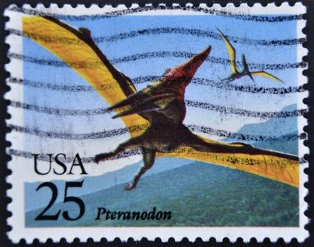 UNITED STATES OF AMERICA - CIRCA 1989: A stamp printed in USA shows a Pteranodon, prehistoric animal, circa 1989 Stock Photo - 11438869
