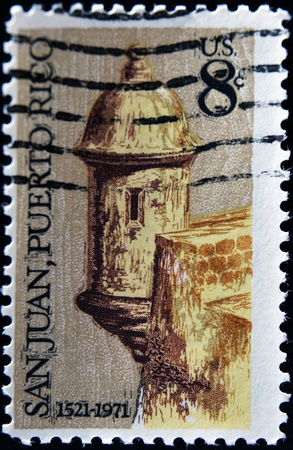 UNITED STATES OF AMERICA - CIRCA 1971: A stamp printed in the United States of America shows image celebrating the 450th anniversary of San Juan in Puerto Rico, series, circa 1971 Stock Photo - 11438918