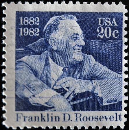 UNITED STATES OF AMERICA - CIRCA 1982: stamp printed by United states, shows Franklin Delano Roosevelt, circa 1982  Stock Photo - 11452442