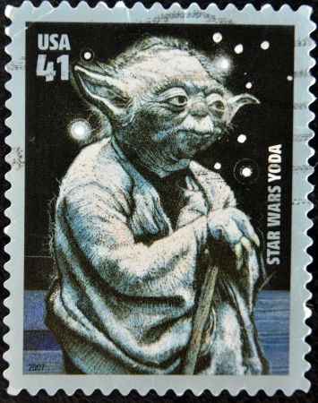 singular: UNITED STATES OF AMERICA - CIRCA 2007: stamp printed by USA, shows Star Wars, Yoda, circa 2007
