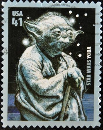 philatelist: UNITED STATES OF AMERICA - CIRCA 2007: Stempel von USA gedruckt, zeigt Star Wars, Yoda, circa 2007 Editorial