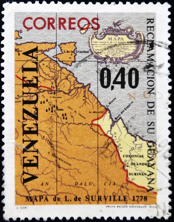 VENEZUELA - CIRCA 1965: A stamp printed in Venezuela devoted to the claim of Guyana, circa 1965  photo