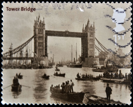 UNITED KINGDOM - CIRCA 2002: A stamp printed in Great Britain shows tower bridge in London, circa 2002 photo