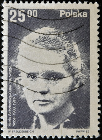 POLAND - CIRCA 1982: A stamp printed in Poland shows Marie Curie, Nobel Prize in physics and chemistry, circa 1982