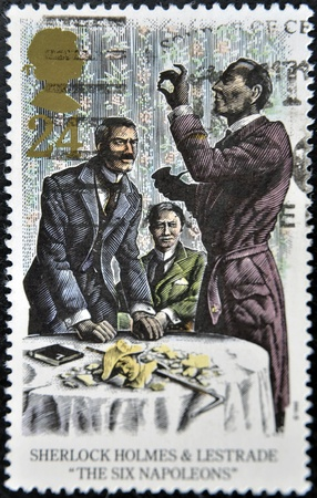 holmes: UNITED KINGDOM - CIRCA 1993: A stamp printed in Great Britain shows Sherlock Holmes and Lestrade in the six napoleons, circa 1993