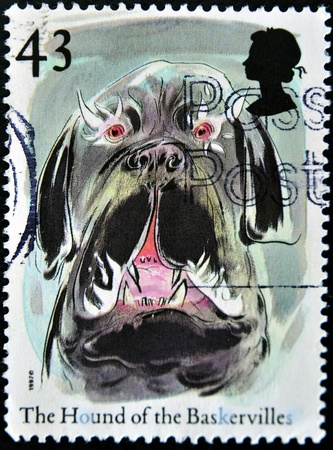 sherlock: UNITED KINGDOM - CIRCA 1997: A stamp printed in Great Britain shows the hound of the baskervilles, circa 1997