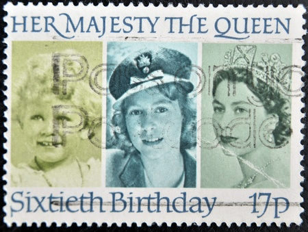 UNITED KINGDOM - CIRCA 1986: a stamp printed in the Great Britain shows Her Majesty the Queen Elizabeth II, sixtieth birthday, circa 1986 Stock Photo - 11438934