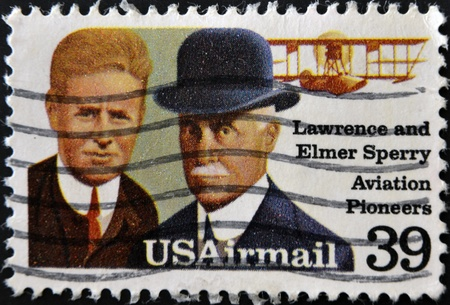 UNITED STATES OF AMERICA - CIRCA 1986: A stamp printed in USA shows Lawrence and Elmer Sperri, Aviation Pioneers, circa 1992.