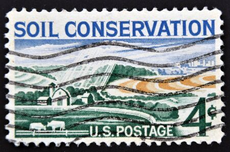 soil conservation: UNITED STATES OF AMERICA - CIRCA 1959: stamp printed in USA, shows Soil Conservation, farm, circa 1959