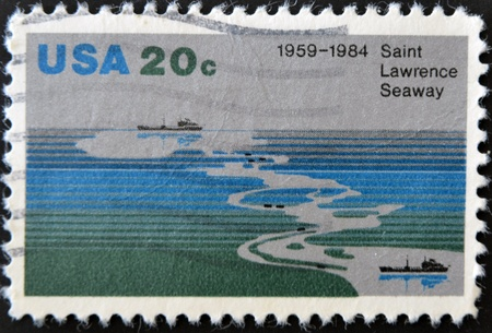 seaway: UNITED STATES OF AMERICA - CIRCA 1984 : A stamp printed in the USA shows Saint Lawrence Seaway (1959-1984), circa 1984