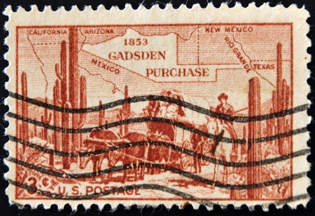 UNITED STATES OF AMERICA - CIRCA 1953: A stamp printed in the USA shows 1853 Gasden Purchase, circa 1953  photo