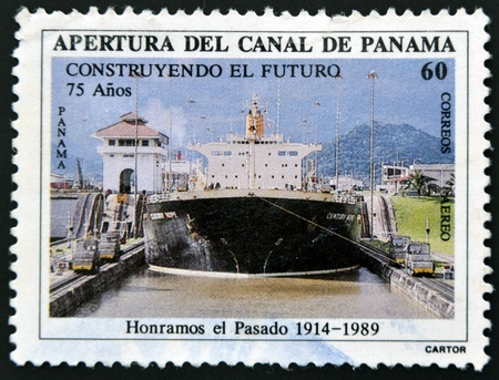 PANAMA - CIRCA 1989: A stamp printed in Panama dedicated to the opening of the Panama Canal, circa 1989 photo