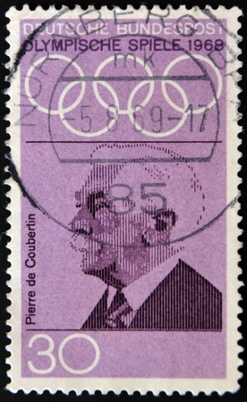 GERMANY - CIRCA 1968: a stamp printed in the Germany shows Pierre de Coubertin, founder of the International Olympic Committee, circa 1968  Stock Photo - 11438960