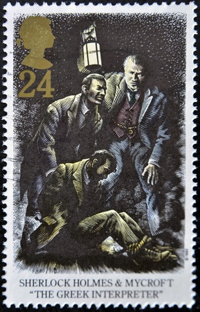 sherlock: GREAT BRITAIN - CIRCA 1993: A stamp printed in the Great Britain shows Sherlock Holmes and Mycroft, The Greek Interpreter, circa 1993