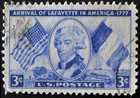 UNITED STATES OF AMERICA - CIRCA 1952: A stamp printed in USA shows arrival of Lafayette in America - 1777, circa 1952
