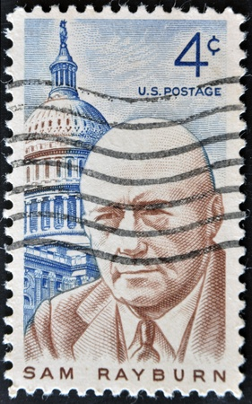 UNITED STATES - CIRCA 1962: Double stamp printed by United states, shows Sam Rayburn, lawmaker and Democratic speaker of the US House of representatives, circa 1962