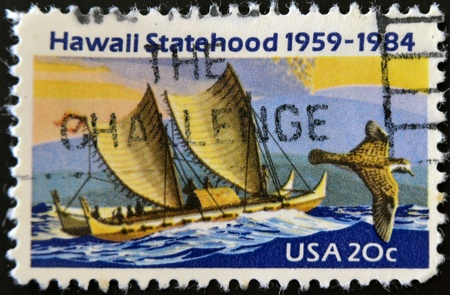 statehood: USA - CIRCA 1984: A stamp printed in USA shows image of the dedicated to the Hawaii Statehood circa 1984.