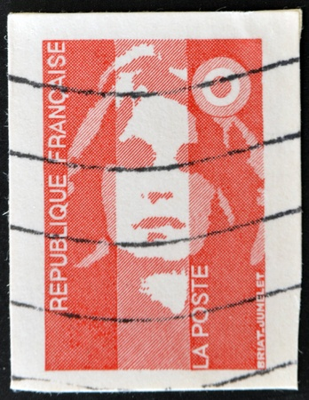 FRANCE - CIRCA 1989: A stamp printed in France, depicts Marianne is a national emblem of France, circa 1989  Stock Photo - 11438955