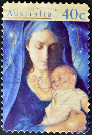 AUSTRALIA - CIRCA 1996: stamp printed by Australia, shows Madonna and Child, circa 1996  photo