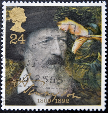 GREAT BRITAIN - CIRCA 1992: a stamp printed in the Great Britain shows Alfred Lord Tennyson, centenary of death, circa 1992  Stock Photo - 11438962