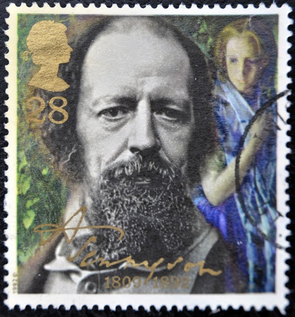 GREAT BRITAIN - CIRCA 1992: a stamp printed in the Great Britain shows Alfred Lord Tennyson, centenary of death, circa 1992  Stock Photo - 11438967