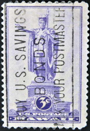 UNITED STATES OF AMERICA - CIRCA 1937: A stamp printed in Territorial Issues Hawaii (USA), shows Statue of Kamehameha I (1758-1819), Honolulu, circa 1937 photo
