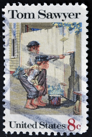 sawyer: UNITED STATES OF AMERICA - CIRCA 1972: A stamp printed in USA shows Tom Sawyer, circa 1972 Stock Photo